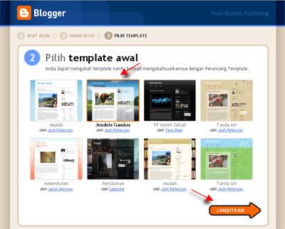 pilih template di blogger